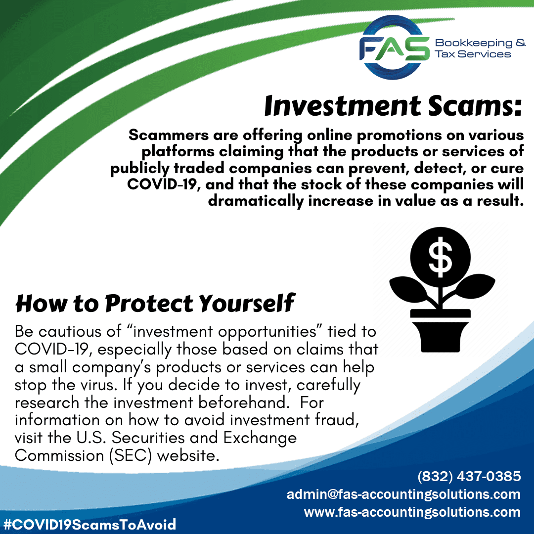 Investment Scam - COVID19 Scams to Avoid