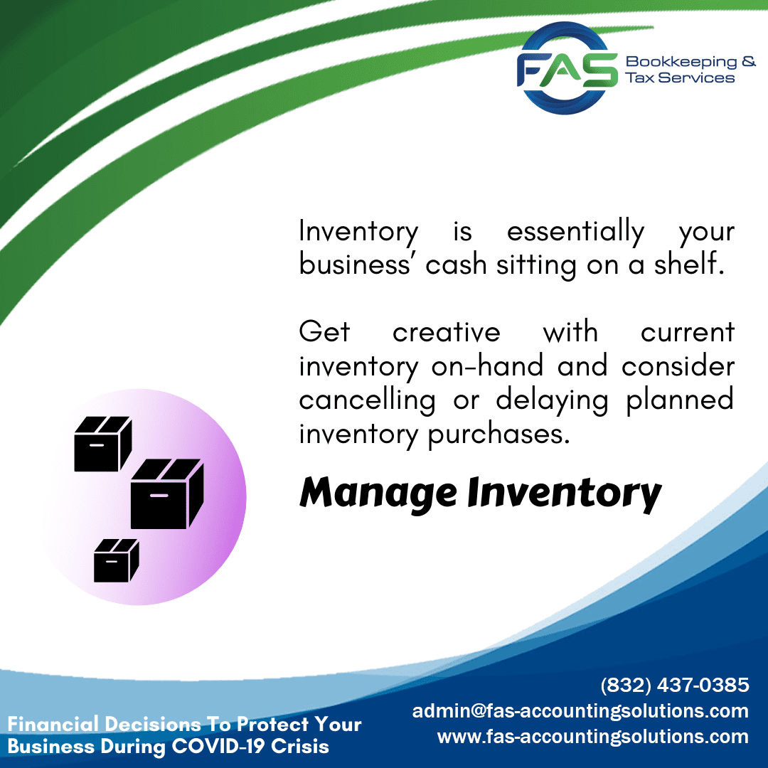 Manage Inventory - Financial Decisions To Protect Business