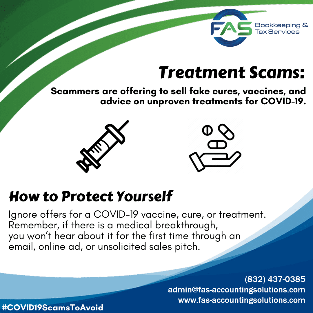 Treatment Scam - COVID19 Scams to Avoid