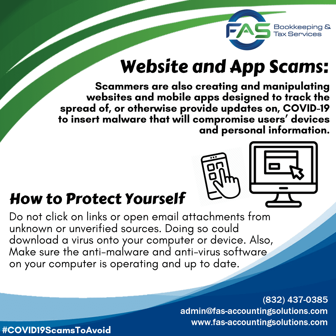Website and App Scam - COVID19 Scams to Avoid
