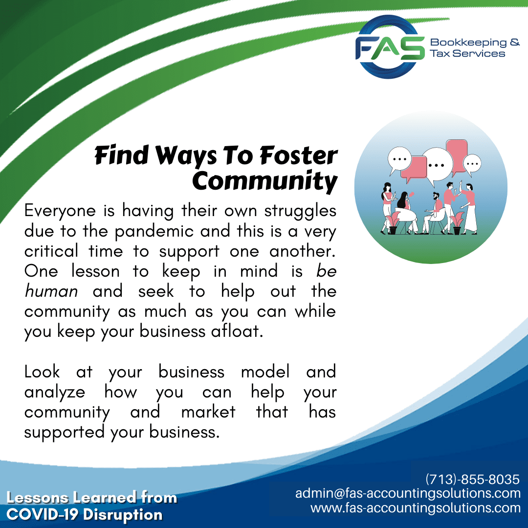 Find Ways To Foster Community - #LessonsLearnedFromCOVID19