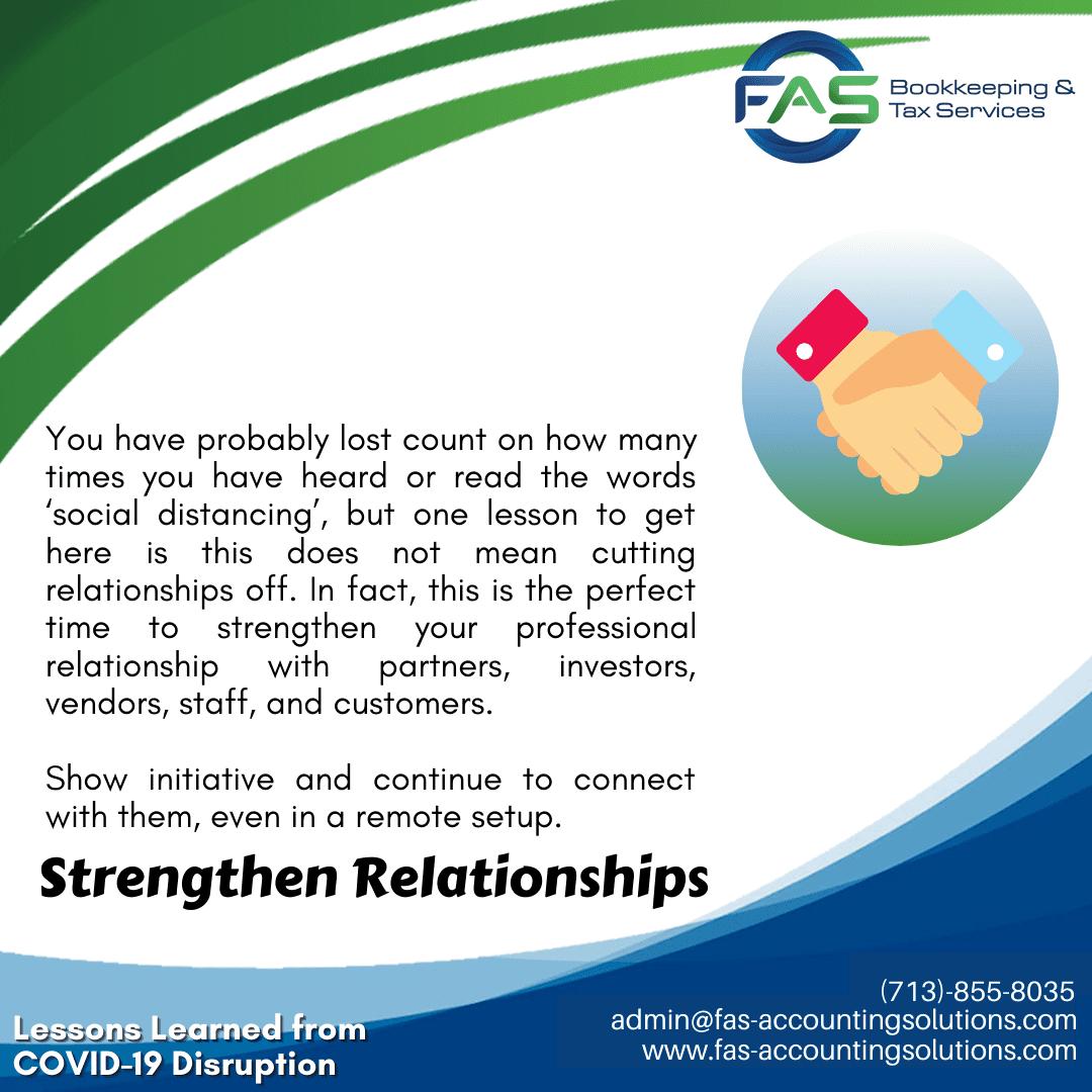 Strengthen Relationships - #LessonsLearnedFromCOVID19