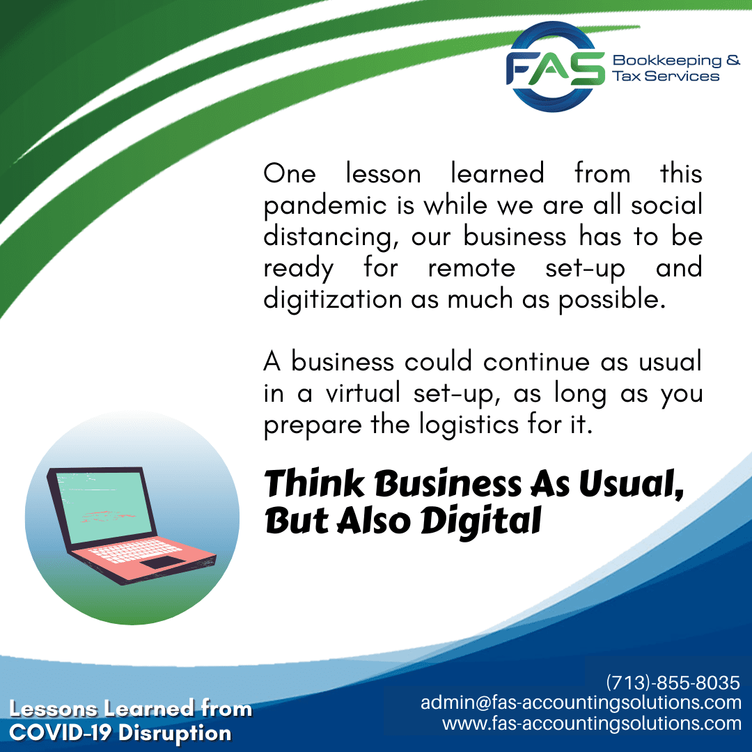 Think Business As Usual - #LessonsLearnedFromCOVID19